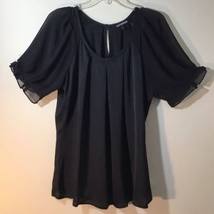 Black short sleeve dress blouse by Express